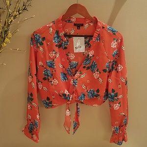 Topshop Floral Tie Plunge Blouse, NWT